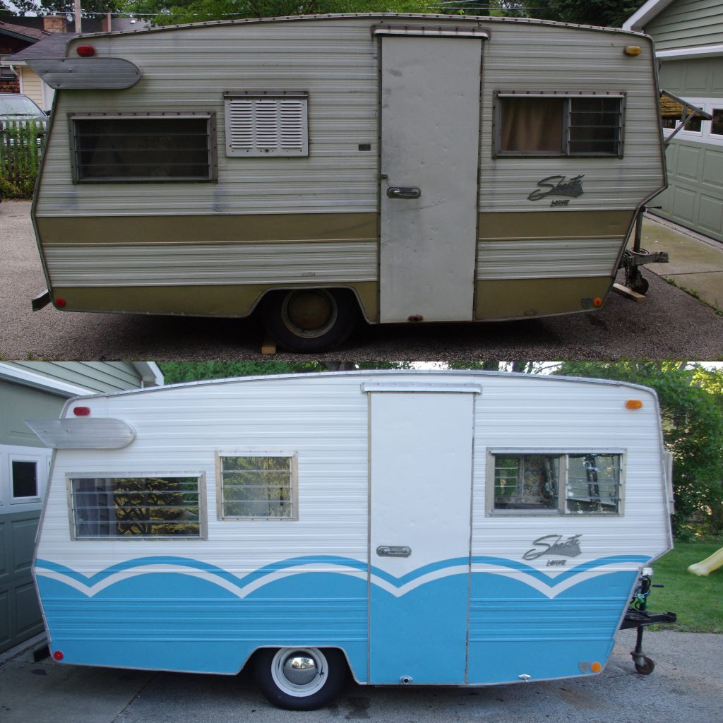 The trailer before (top) and after (bottom)