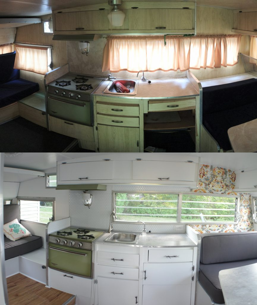The interior before (top) and after (bottom)