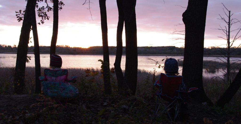 Quintin and Eliza watching the sunset